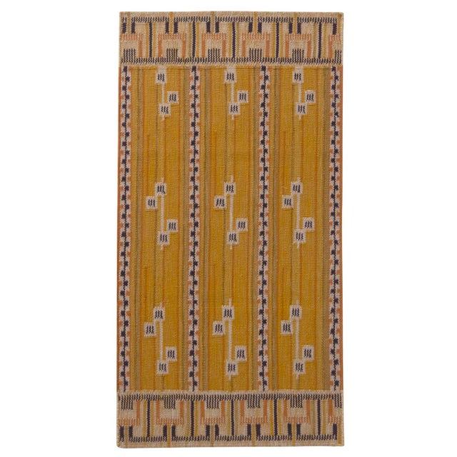 Rug & Kilim's Scandinavian Style Striped Gold and Black Wool Kilim Runner For Sale In New York - Image 6 of 6
