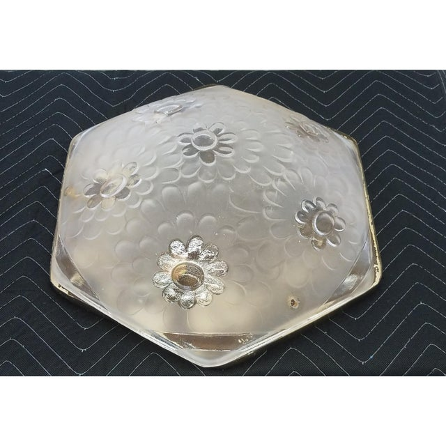 French Art Deco Signed Degue Flush Mount Ceiling Fixture sold as found in vintage condition all original.