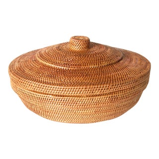 Round Basket With Lid Handwoven Bali Ata Basket For Sale