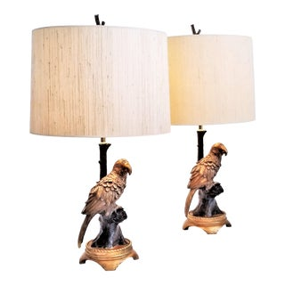 Large Vintage Parrot Lamps A- Pair - Restored With New Shades and New Brass Hardware and New Cords For Sale