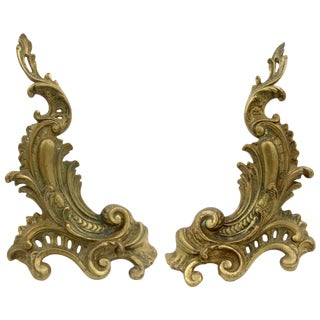Antique Louis XV Style Pair of Fireplace Chenets or Andirons For Sale