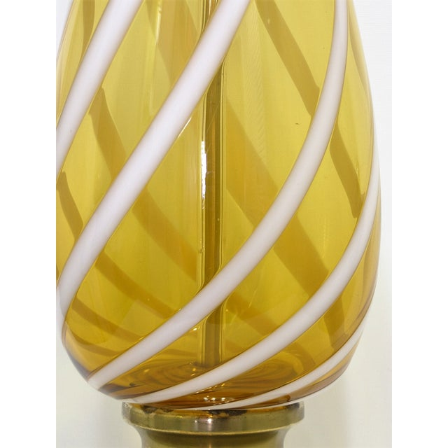 Italian Amber and White Striped Murano Glass Table Lamp Mid-Century Modern MCM For Sale - Image 7 of 11