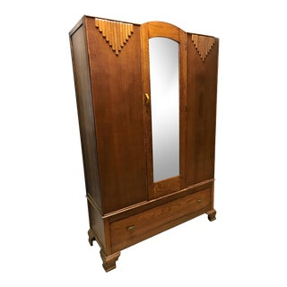 1920s Antique Art Deco Wardrobe With Bakelite Handles For Sale