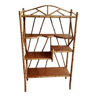 AntiqueTortoise Bamboo Display Shelf Bookcase For Sale
