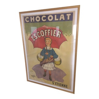 """1900 Vintage French Poster for """"Chocolat Escoffier"""" by T. Coulet Ca. For Sale"""