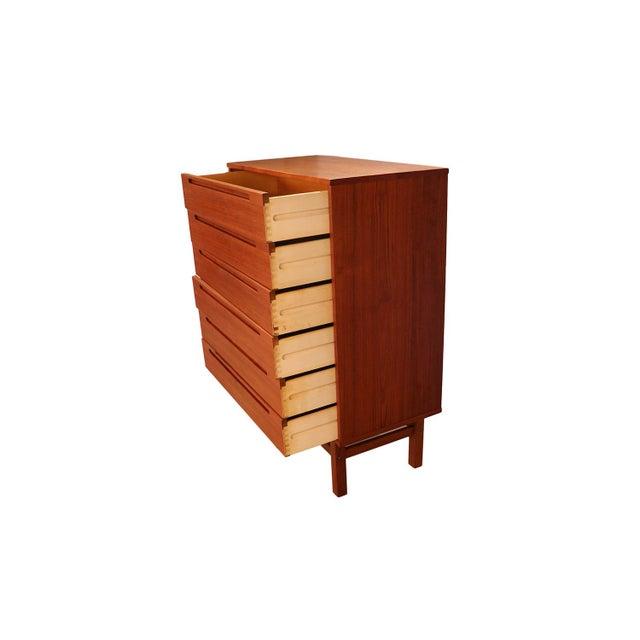 1960s Mid Century Modern Nils Jonsson for Hjn Mobler Danish Teak Tall Dresser Highboy For Sale - Image 5 of 11