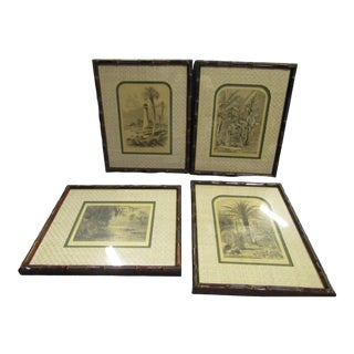 1960s Vintage Faux Bamboo Framed Tropical Prints - A Pair For Sale