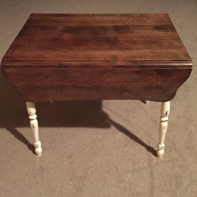 Farmhouse Style Vintage Drop Leaf Side Table For Sale In Portland, OR - Image 6 of 8