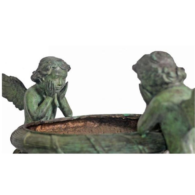 Classical Style Cast Bronze Verde Patina Urn With Two Cupids and Rams' Heads For Sale In New York - Image 6 of 7