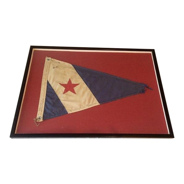Framed Cohasset Ma Yacht Club Burgee For Sale