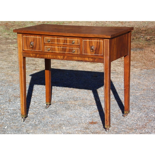 Antique Sheraton Federal Walnut Petite Buffet Server Cart Entry Table Console For Sale - Image 13 of 13