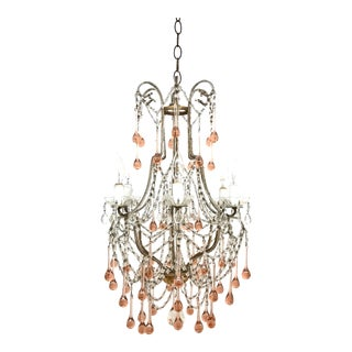 1960s French Pink Drops Macaroni Beaded Chandelier For Sale