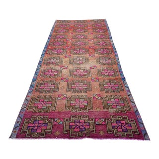 1970s Vintage Turkish Oushak Rug - 4′4″ × 10′6″ For Sale