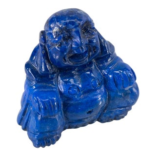 1950s Chinese Miniature Carved Lapis Lazuli Laughing Buddha For Sale