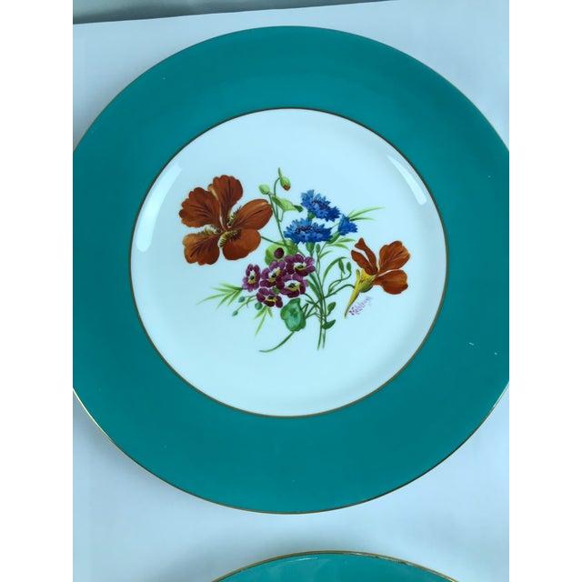Signed J. Colclough Minton H4780 Hand Painted Floral Aqua Rim Plates - Set of 12 For Sale - Image 12 of 13