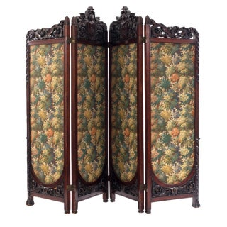Victorian Mahogany 4-Fold Screen For Sale