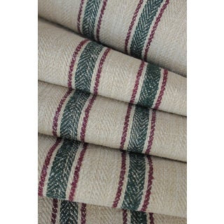 Stair Runner Heavy Hemp Grain Sack Fabric By The Yard Red And Green Stripes Herringbone Weave Antique Homespun Linen For Sale