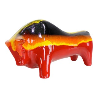 Mid-Century Modern Ceramic Bull by Aldo Londi For Sale