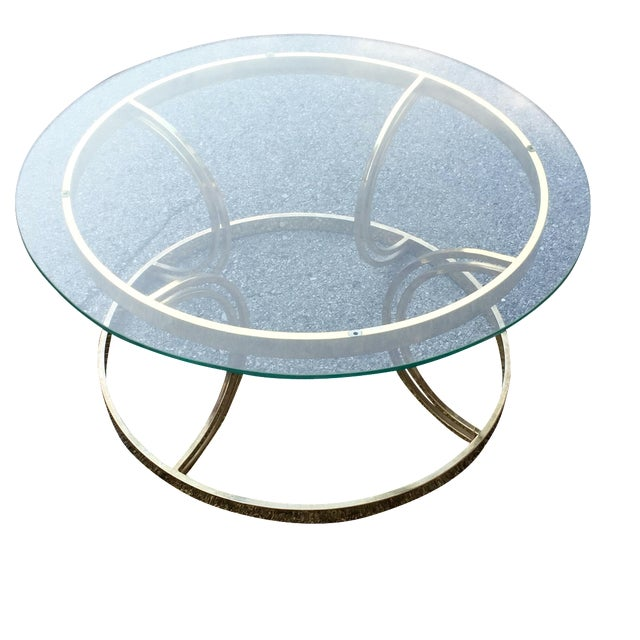 Crescent Base Brass Cocktail Table - Image 1 of 6