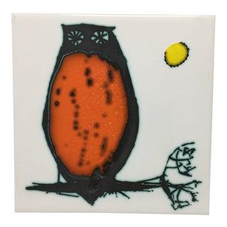Modern Kenneth Clark Owl Ceramic Tile For Sale