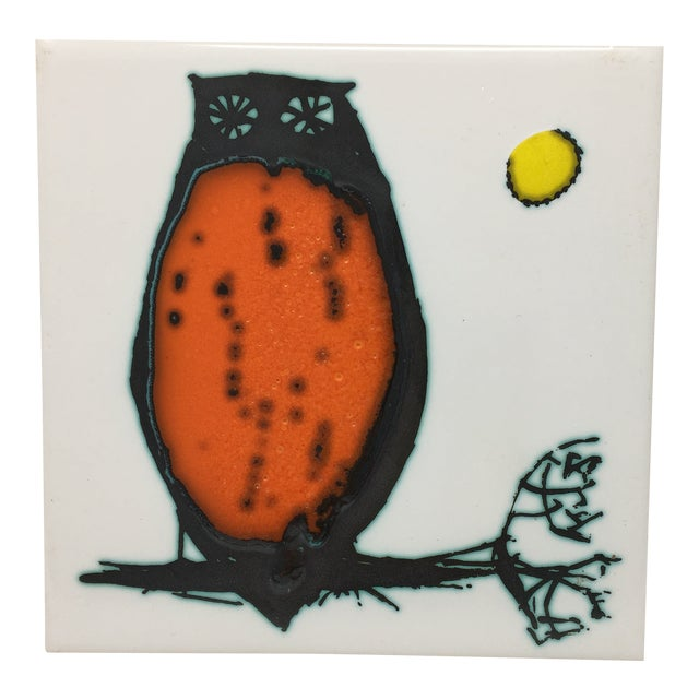 Modern Kenneth Clark Owl Ceramic Tile For Sale