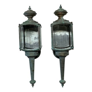 1980s Vintage Wall Hanging Brass Lantern - a Pair For Sale