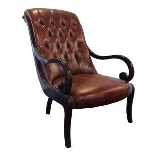 French Red Leather Tufted Voltaire Fauteuil For Sale