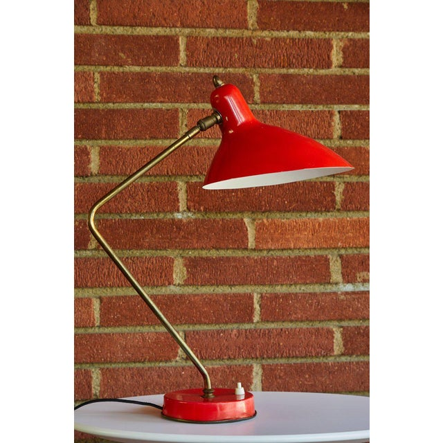 French 1950s Mid-Century Modern Boris Lacroix Red Table Lamp For Sale - Image 3 of 12