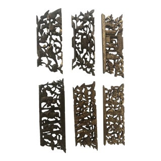 1940s Chinese Carving Architectural Salvage - Set of 6 For Sale