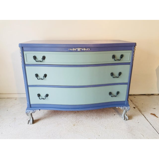 Blue 1940s French Provence Style Decor Painted Mahogany Dresser For Sale - Image 8 of 8