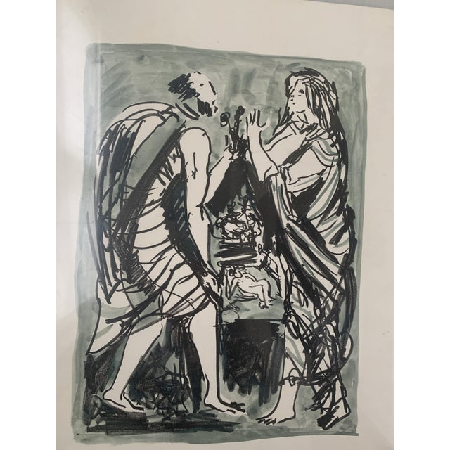 1960s 1961 Italian Framed Watercolor Ink Sketch Painting of a Roman Man and Woman Wearing Togas For Sale - Image 5 of 10