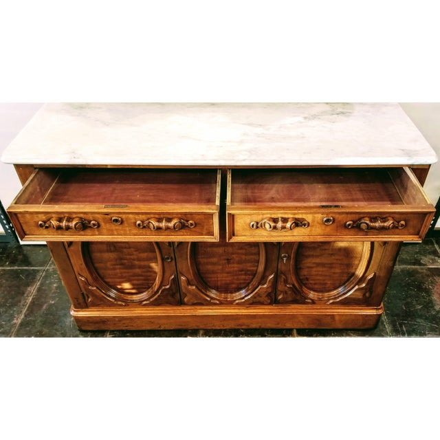 White American Victorian Gothic / Renaissance Revival Italian Marble Del Duomo Topped Sideboard For Sale - Image 8 of 13
