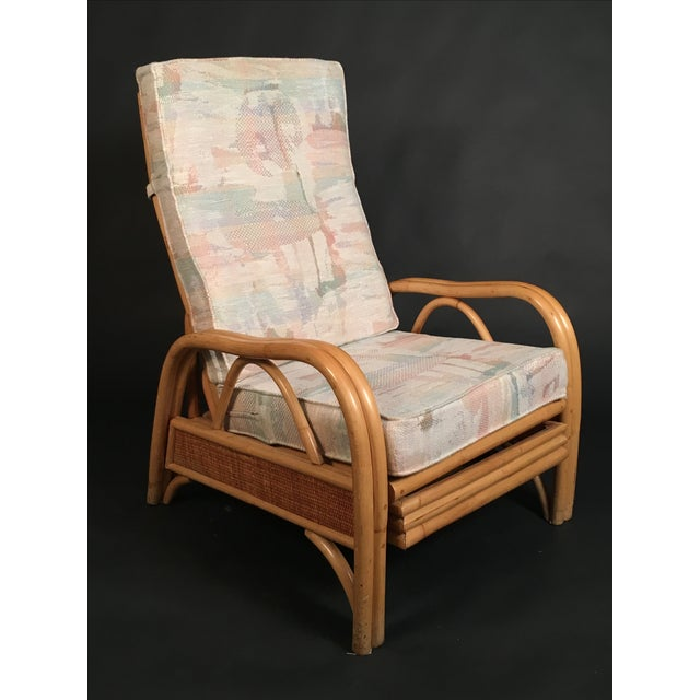 Boho Chic Vintage Rattan Recliner For Sale - Image 3 of 8