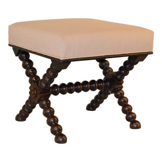 Late 19th-Century English Spool Leg Stool For Sale