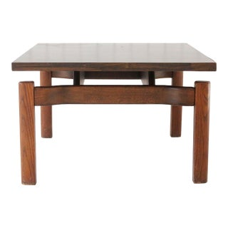 Mid-Century Modern Square Teak Base Coffee Table For Sale