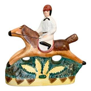 English Ceramic Horse Jumper Equestrian Figurine For Sale