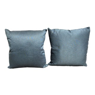 Custom Blue Silk Pillows With Contrasting Chord - a Pair For Sale