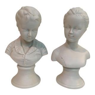 Vintage Ceramic Bust Sculptures - a Pair