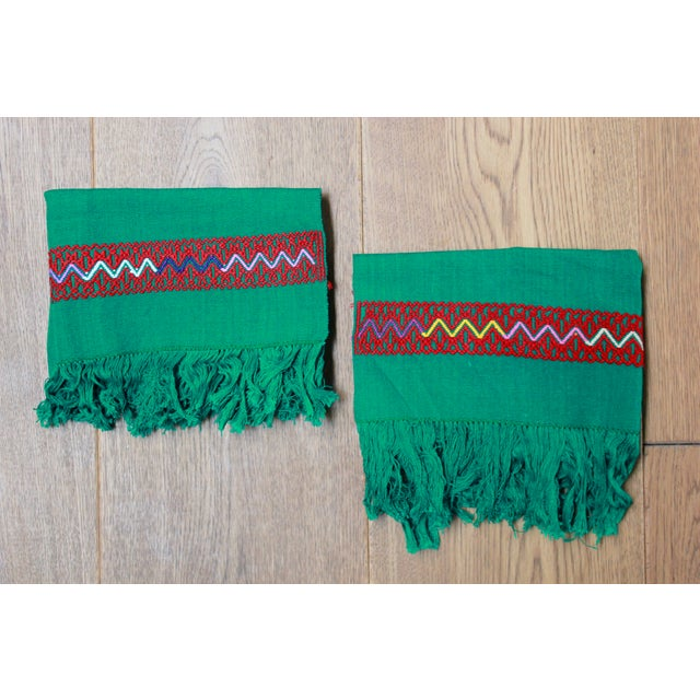 A set of two handwoven green placemats You can use them as kitchen towels too. The state of Chiapas is famous for creating...
