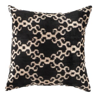 Turkisk Hand Woven Silk Velvet Ikat Pillow 20'' #Ti 305 For Sale