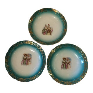 Teal and Gold Rimmed Hand Painted Ladies Bowls - Set of 3