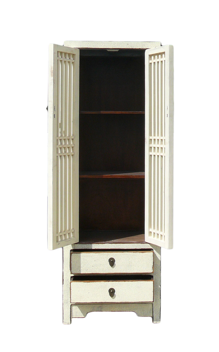 Rustic White Tall Narrow Cabinet, Shutter Doors   Image 4 Of 4