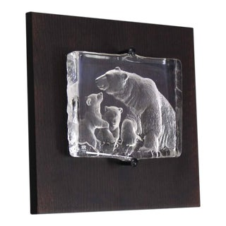 Swedish Carved Crystal Slab Sculpture of Polar Bears