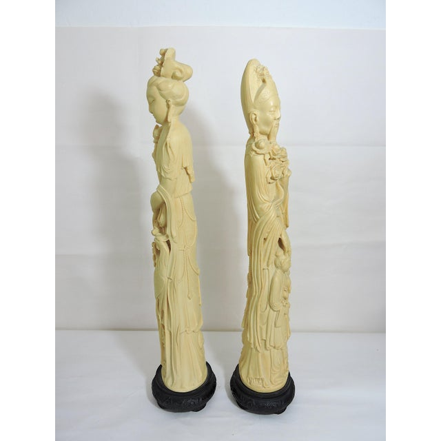 Asian Mid 20th. Century Italian / Chinese 'Ivory' (Resin) Nobles Statues or Figures - a Pair For Sale - Image 3 of 11