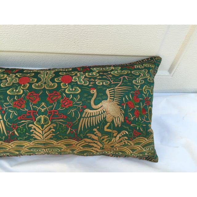 Chinoiserie Silk Crane Boudoir Pillow - Image 4 of 7