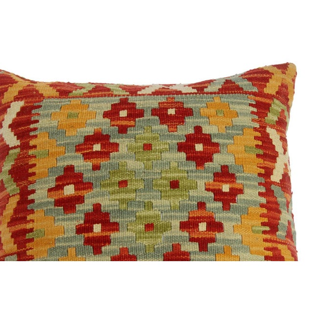 "Chase Red/Gray Hand-Woven Kilim Throw Pillow(18""x18"") For Sale - Image 4 of 6"