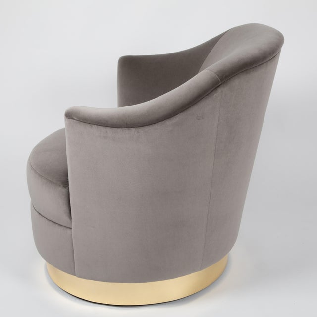 1980s 1980s Karl Springer Swivel Armchairs With Polished Brass Bases - a Pair For Sale - Image 5 of 13
