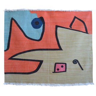 Paul Klee - Silence of the Angel - Inspired Silk Hand Woven Area - Wall Rug 4′7″ × 5′7″ For Sale