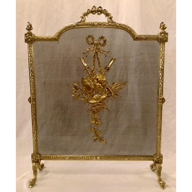 Antique French Louis XVI Bronze Firescreen, Circa 1880. For Sale - Image 4 of 4