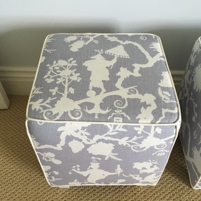 Asian Chinoiserie Schumacher Cube Ottomans - a Pair For Sale - Image 3 of 8